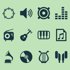 Music Icons Set. Collection Of Equalizer, Tuner, Phonograph And Other Elements. Also Includes Symbols Such As Sound, Controlling, Volume.