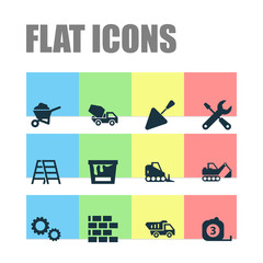 Construction Icons Set. Collection Of Tractor, Cement Vehicle, Wall And Other Elements. Also Includes Symbols Such As Rule, Cement, Barrow.
