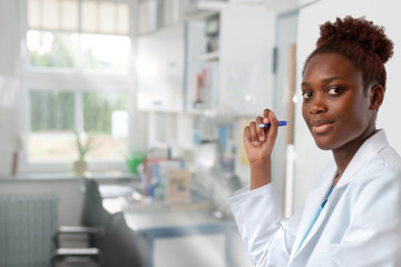 Female African scientist, medical or or graduate student
