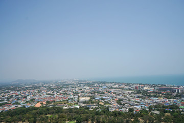 top view of the town nearby the sea in the south of Thailand
