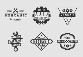 White and black auto mechanic logo set