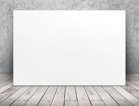Blank long white paper poster leaning at concrete wall on wooden plank floor in perspective room,Business mock up presentation design