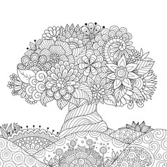 Beautiful abstract tree for design element and adult coloring book pages. Vector illustration