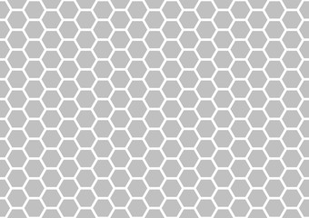 Seamless Hexagonal Pattern in Grey and White Color