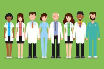 Team doctor, surgeon, nurse. Set of diffrent character. Vector  illustration.