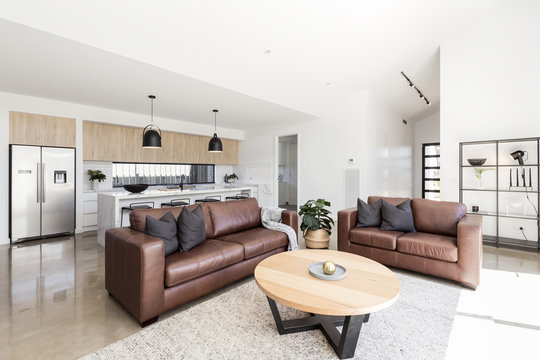 Open plan scandinavian styled family living room and kitchen