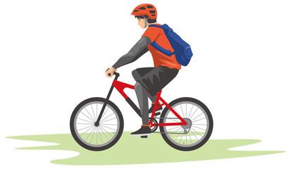 マウンテンバイクを運転する男性のイメージイラスト
