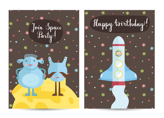 Happy birthday cartoon greeting card on space theme. Funny blue aliens on moon surface, spaceship with astronaut flying in cosmos vector illustrations. Bright invitation on childrens costumed party