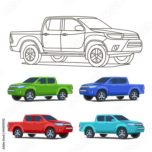 Pickup Truck Set Outline And Colored Vector Illustration Stock