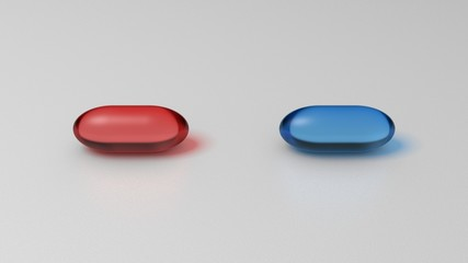 Red and blue pills on white surface. Graphic illustration. 3D render