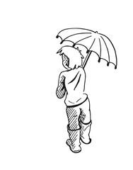Jongen in de regen