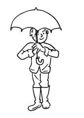 In de regen met je paraplu