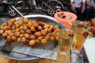 Xinjiang Drink Sweet Fruit Drinks Dates Figs Date Fig Red Shanghai Friday Morning Market Cup Glass Cold China Minority Food Special Specialty Refreshing Delicious Traditional Muslim