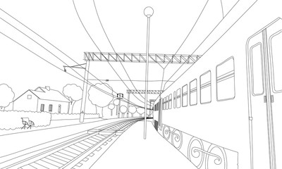 Coloring book the train on the platform. Vector illustration of railway in the village.