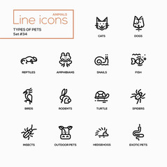 Types of pets - modern vector single line icons set
