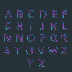 Font with minimal design. Typographic alphabet in a set. All caps letters with vibrant gradient