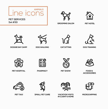 Pet services - modern vector single line icons set