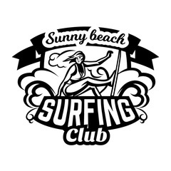 Monochrome logo, emblem, girl surfer. Surfing on the waves, the beach, weekend, extreme sport. Vector illustration.