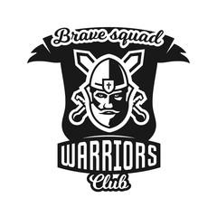 Monochrome logo, emblem, knight in helmet against the background of swords crosswise. Viking, barbarian, warrior, soldier, shield. Vector illustration.