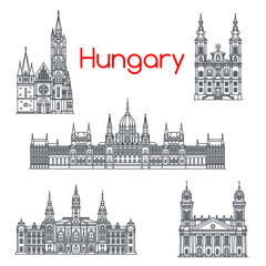 Architecture of Hungary buildings vector icons