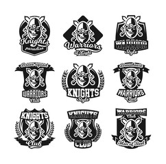 Set of monochrome logos, emblems, knight in helmet against the background of swords crosswise. Viking, barbarian, warrior, soldier, shield. Vector illustration