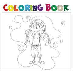 Boy in bathroom coloring book.