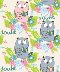 vector illustration of a cartoon owl in doubt
