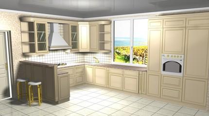 kitchen classic 3D rendering design interior