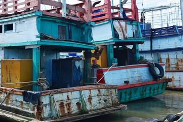 fishing boats in a fishing harbor