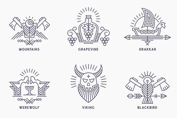 Set of vintage vector logo templates with ethnic elements in thin line style