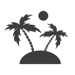 Island black icon with palms and sun.