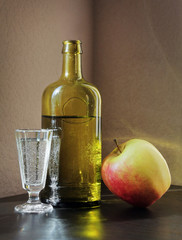 Shot glass, Bottle and Apple
