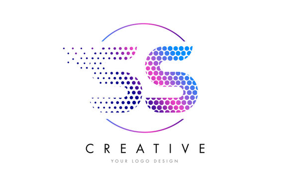 SS S S Pink Magenta Dotted Bubble Letter Logo Design Vector