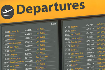 Airport Departure Board with delayed flights
