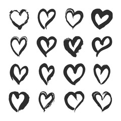 Set of Black Hearts on White Background