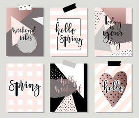 Hello spring posters set with geometric elements.