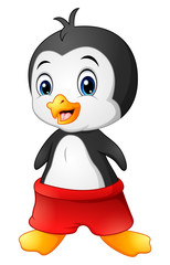 Cartoon penguin with red shorts