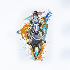 Sketch of the Japanese rider on a white background.