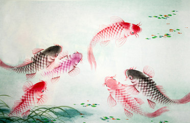 Chinese painting of carp