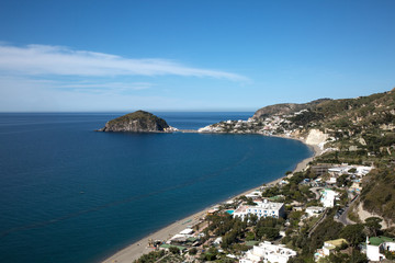 Aerial view of  Maronti beach and Sant'Angelo in Ischia island, Naples, Italy