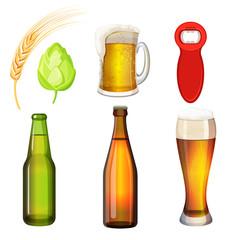 Barley grains, malt, bottle opener, flasks, tumblers with glass handle.