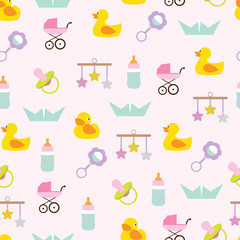 Vector seamless pattern of baby icons and symbols