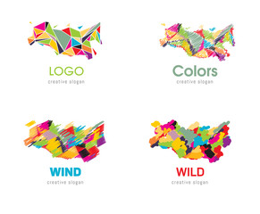 Multicolored, rainbow abstract logos.