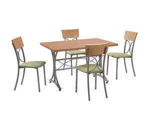 Dining table and four chairs isolated on white background with clipping mask.