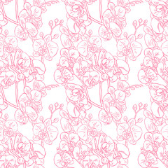 seamless sketch pink orchids