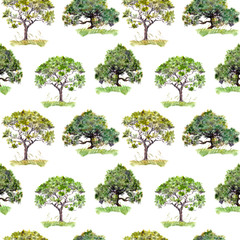 Green trees. Outdoor ecology background. Repeating pattern. Watercolor