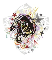 Grunge tribal mustang with a dragon inside. Flaming horse head with the twirled young dragon inside against the background of a decorative gray cross with colorful floral splashes and asterisks