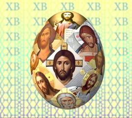 Пасхальное яйцо оформленное  иконами