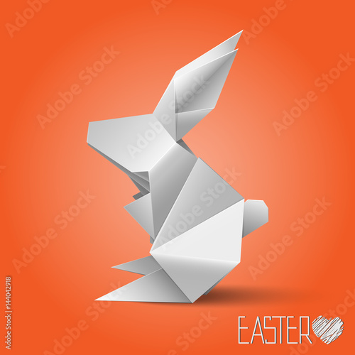 Happy Easter Greeting Card With Origami Rabbit Happy Easter Card