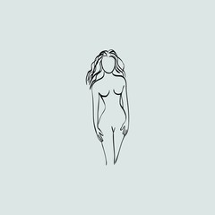 contour silhouette of woman for fitness diet